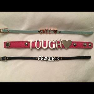 3 leather cuff bracelets